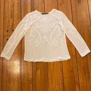 Zara | Light Cream Embroidered Top